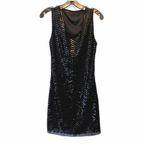 NWT Black Sequin Beaded Flapper Dress